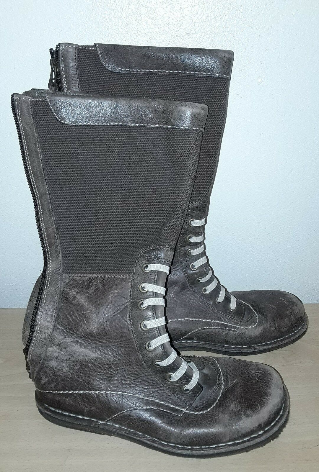 Simple Brand Women's Brown Color Leather Zip-up Boots - Sz: 8.5