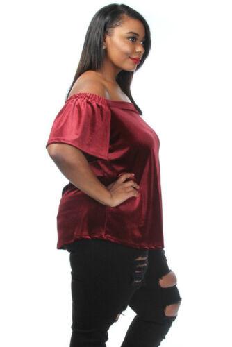Plus Size Off The Shoulder Velvet Top Burgundy 1X, 2X, 3X