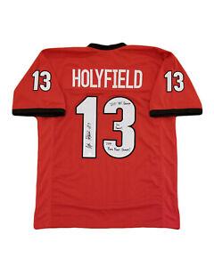 online store edebf 5a81e Details about Georgia Bulldogs Signed Elijah Holyfield Custom Jersey  Beckett COA RB Champs INS