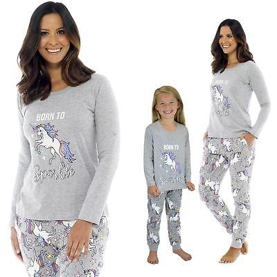 Konstruktiv Ladies Girls Cotton Born To Sparkle Unicorn Grey Pyjama Mini Me Matching Pj