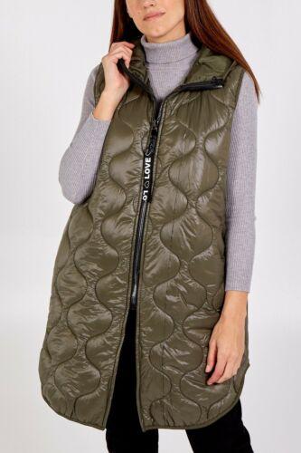 "/""LOVE/"" Hooded Long Sleeveless Puffer Coat Waistcoat Long BodyWarmer BNWT"