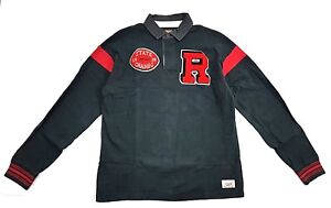 Rugby-Ralph-Lauren-State-Champs-Patch-Football-Long-Sleeve-Polo-Size-L-Vintage