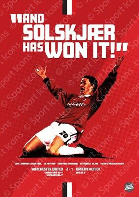 Ole Gunnar Solskjaer Man United '99 Champions League winner poster print
