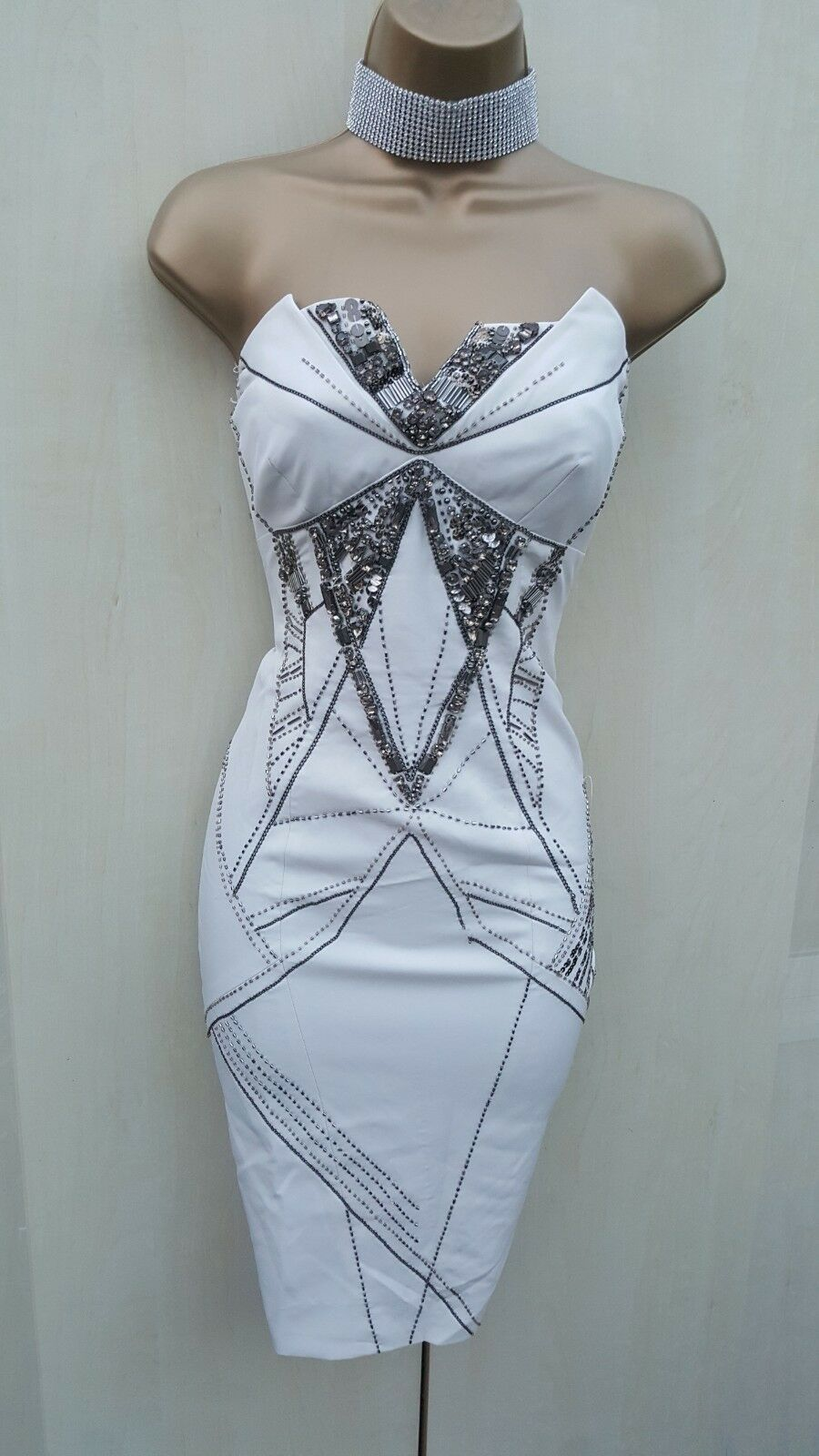 12 UK UK UK KAREN MILLEN IVORY ARTWORK JEWEL Beaded GATSBY FLAPPER Party Mini DRESS 11711a