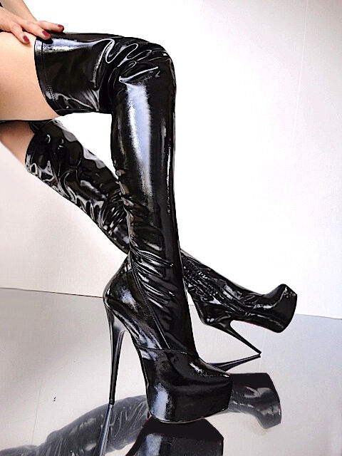 CQ COUTURE LEATHER PLATFORM OVERKNEE STIEFEL Stiefel STRETCH LEATHER COUTURE BLACK SCHWARZ 41 b677af