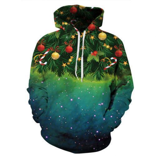 Men Galaxy Weed Leaf Tree Graphic 3d Print Hoodie Unisex Funny Hooded Sweatshirt