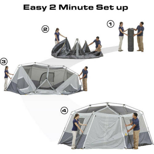 11-personne instantanée Hexagone cabine tente camping 17â € ™ X 15â € ™ 2 chambres Imperméable