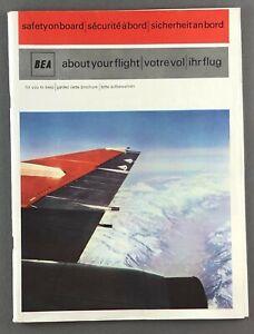 BEA BRITISH EUROPEAN AIRWAYS SAFETY CARD TRIDENT ARGOSY VANGUARD HERALD COMET 4B