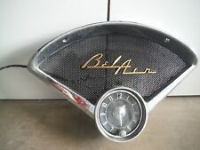 1955-1956 Chevy Bel Air Radio Clock Speaker Grill Bezel Gold Script