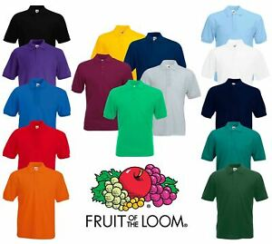 Fruit-of-the-Loom-Liso-Algodon-Camisas-Polo-para-hombre-Camiseta-de-manga-corta-Camiseta