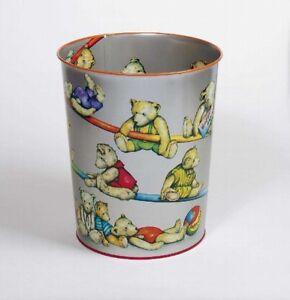 Details zu Teddy Papierkorb fürs Kinderzimmer, Blecheimer mit Teddymotiv,  Bären