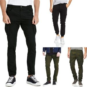 Jack-amp-Jones-Mens-Cargo-Pants-Slim-Fit-Black-Army-Camo-Green-military-Trousers