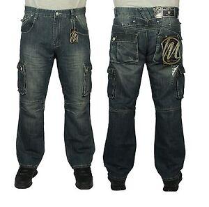 Da-Uomo-BNWT-McCarthy-Jeans-Pantaloni-Cargo-Combat-Stile-in-blu-utilizzati-Taglie-30-034-A-60-034