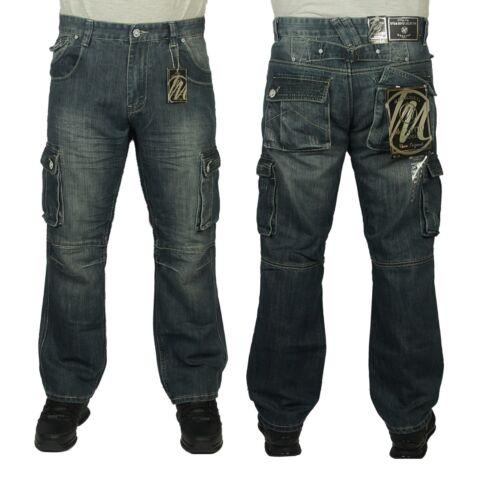 Jeans da Uomo Nuovo con Etichetta McCarthy Pantaloni Cargo Combat Stile