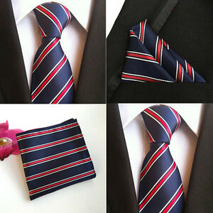 Men-White-Red-Stripe-Navy-Blue-Silk-Tie-Match-Hanky-Pocket-Square-Set-Lot-HZ101