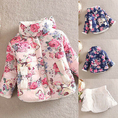 Warm Winter Baby Kid's Cotton Floral Thick Outerwear Girls Fashion Jacket D82