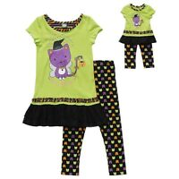 Dollie & Me Girl 4 5 And Doll Matching Halloween Cat Dress Outfit American Girls