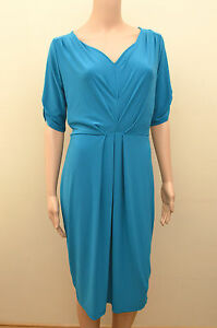 BANDTILENew M&S Twiggy Blue Winter Turquoise Dress Sz UK 10 12 14