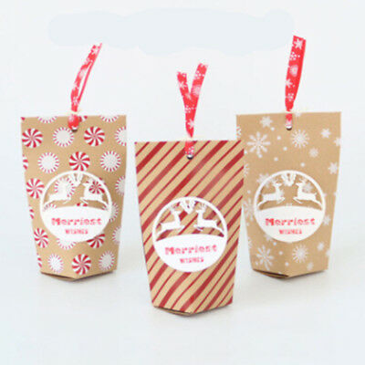 24PCS//Set Christmas Gift Bags Paper Party Bag Xmas Candy Cookie Box Bag Decor