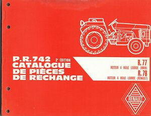 Acheter Pas Cher P.r 742 Catalogue De Pieces De Rechange Renault Tracteurs R77 R78 R.77 R.78