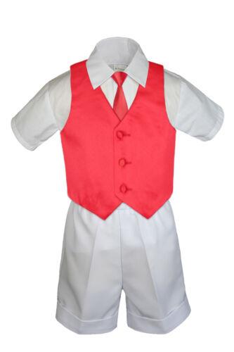 4pc Boy Toddler Red Vest Tie,Pick Black Khaki Brown Gray Navy White Hat Shorts
