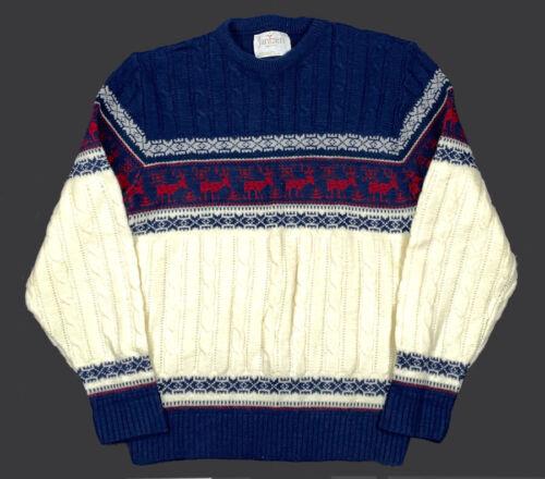 Reindeer Knit Jantzen Vintage Pullover Fair Isle Holiday Wool Sweater