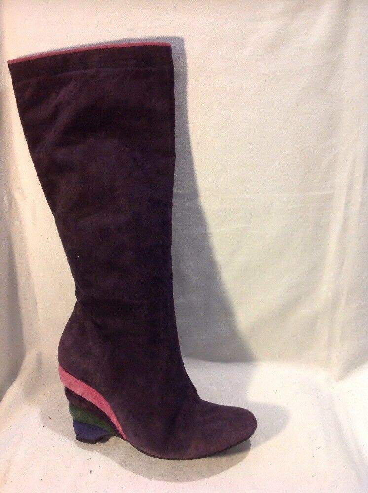 Office London Purple Knee High Suede Boots Size 39