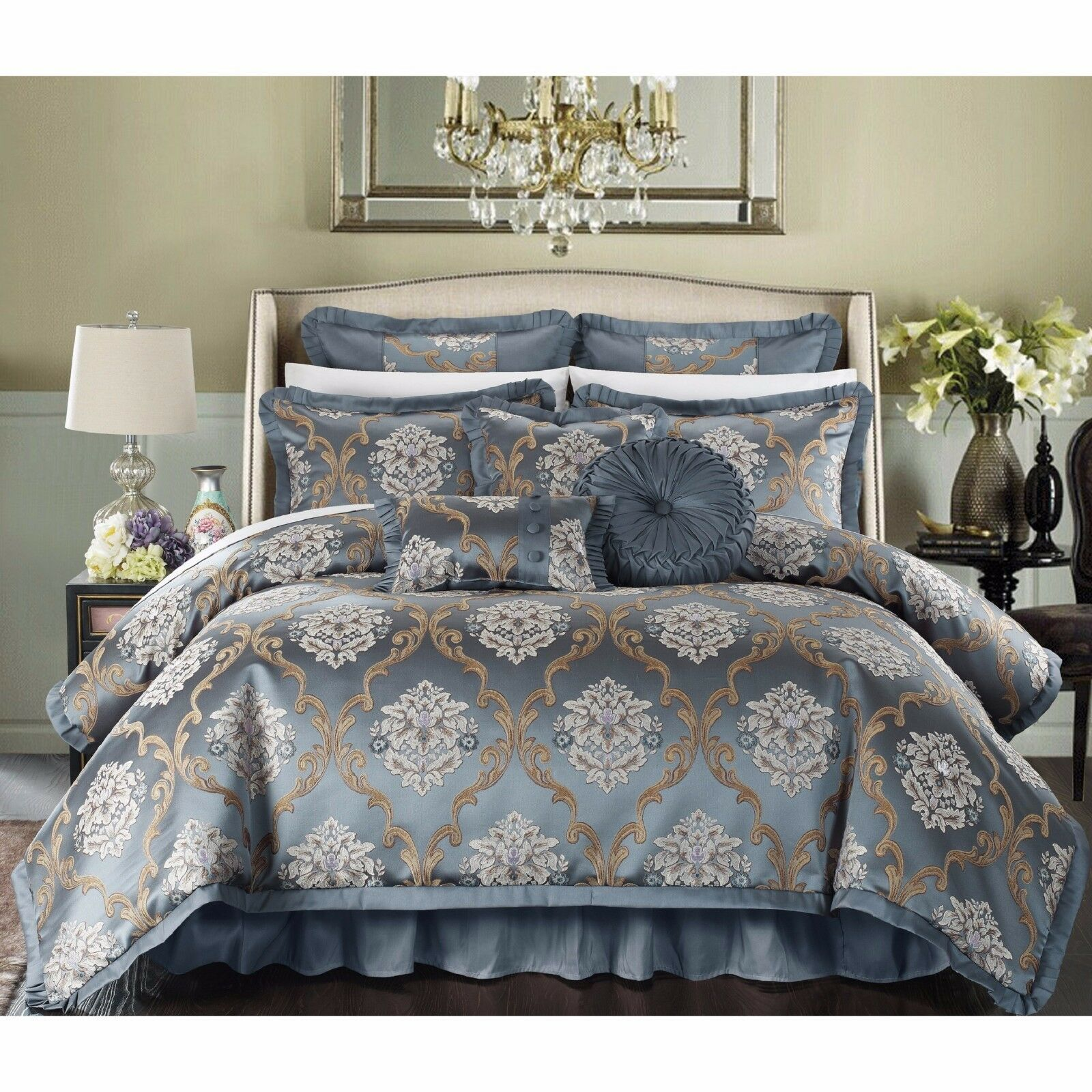 JACQUARD 9 PIECE COMFORTER SET   BED IN A BAG - King   Queen - 3 FarbeS