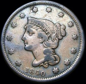 1840-Braided-Hair-Large-Cent-Penny-US-Coin-Type-Coin-D829