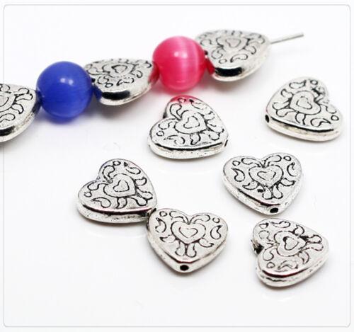 10x Tibet Argent Coeur Perles Spacer Zwischenteil Pour Bijoux À faire soi-même 10x11mm ms060