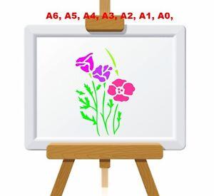 Graceful-Californian-Poppies-Plant-Stencil-350-micron-Mylar-not-thin-stuff-FL022