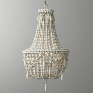 Image Is Loading Antique White Wood Beaded Small Chandelier Living Room
