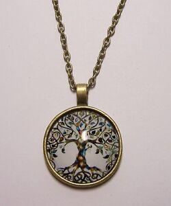 Tree-of-Life-Design-Cabochon-Pendant-Necklace-w-Chain-Unique-Jewelry-Gift