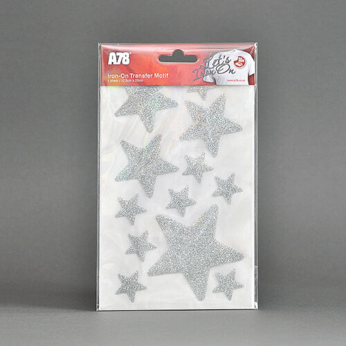 "Iron-on glitter stars hot-fix tissu t-shirt transfert stickers set 1/"" 2/"" 3/"""