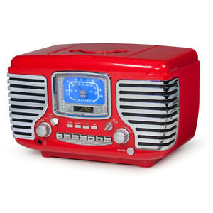 Crosley-Corsair-Vintage-Style-Radio-CD-Player-Alarm-Clock-Red