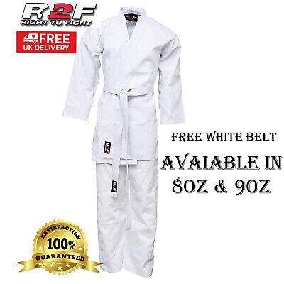 Karate Suit 8oz Martial Arts White Uniform with Free Belt Poly Cotton