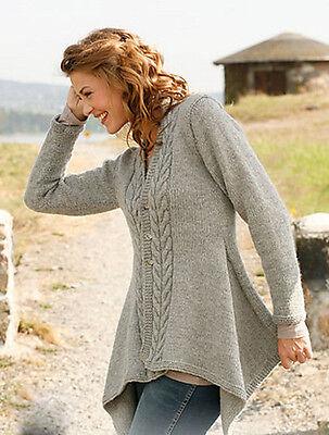 Womans Ladies Medieval Asymmetric Aran Cable Jacket