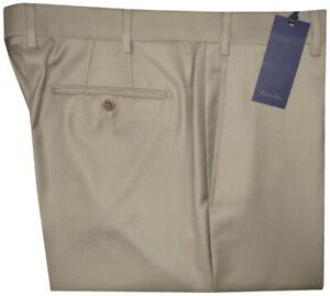 395-NEW-ZANELLA-DEVON-SOLID-TAN-SUPER-120-039-S-WOOL-MENS-DRESS-PANTS-42