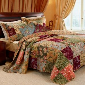 King-100-Cotton-Floral-Paisley-Quilt-Set-with-2-Shams-and-2-Pillows
