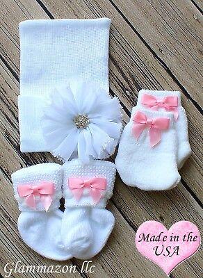 Gorgeous Newborn Girl socks mittens hospital big bow beanie set pink baby girl