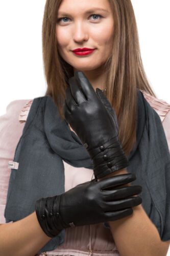 Fashion Sheepskin Leather Gloves For Women Cold Weather TouchScreen