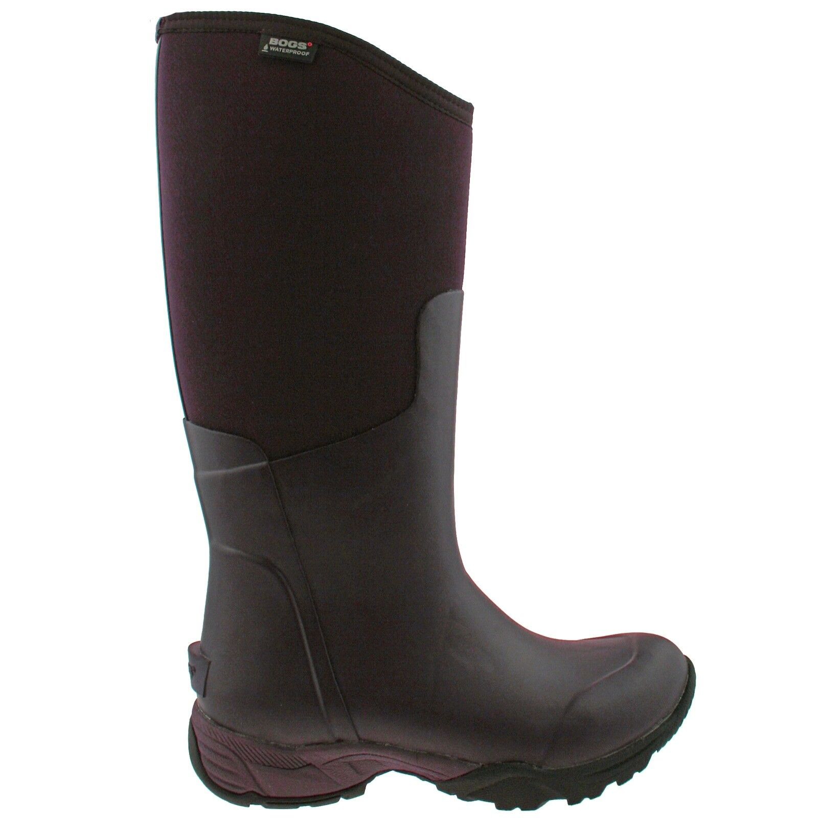 LADIES BOGS ESSENTIAL TALL SOLID AUBERGINE INSULATED WARM WELLIES Stiefel 78583 550