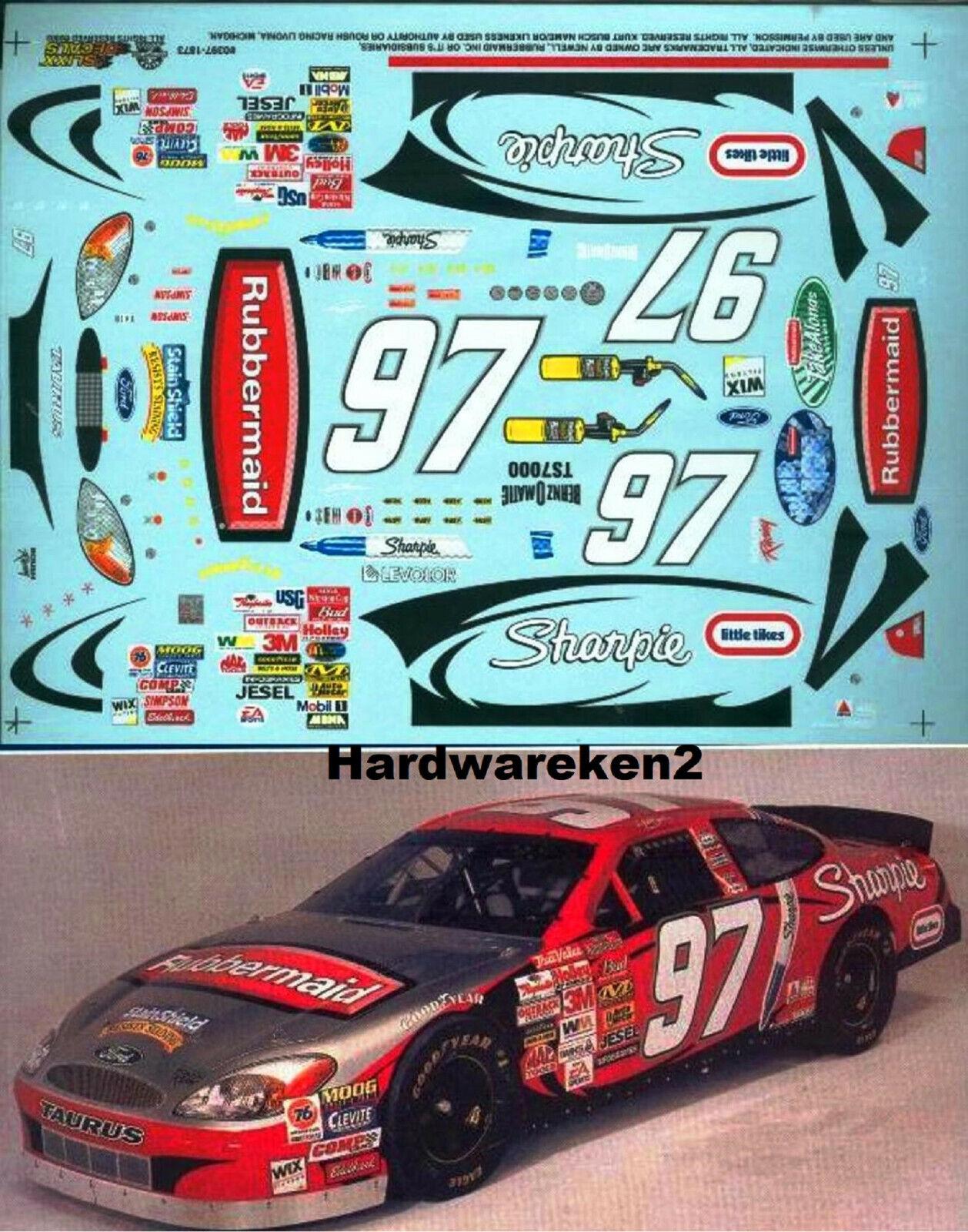 2002 Kurt Busch #97 Sharpie Ford Taurus Car 1:24 Decal NEW Slixx Decals!