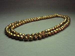 Vintage-Czech-Bohemian-Bronze-Tone-Faceted-Glass-Bed-Necklace