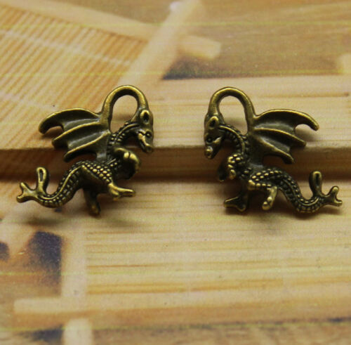 15//45pcs Antique silver lovely The three-dimensional wing dragon Charm pendant