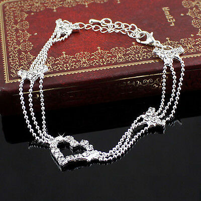 Women Jewelry Love Heart Crystal Rhinestone Charms Anklet Ankle Bracelet Chain
