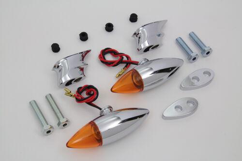 Chrome Torpedo Bullet Style Marker Lamp Set for Harley Harley Chopper Bobber