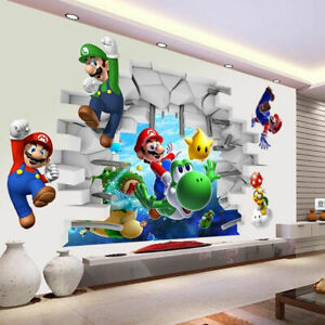 Super-Mario-3D-infantil-del-Desmontable-De-Pared-Calcomania-Vinilo-Arte-Pegatinas-Decoracion-del