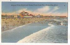 View of Beach, Ocean from Pier OCEAN CITY NJ Vintage New Jersey Shore Postcard