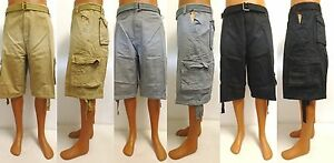 Men's PJ MARK khaki grey black cargo shorts PLUS SIZE BIG ...